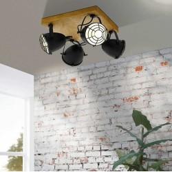 Gatebeck τετράφωτο σπότ οροφής μαύρο / wood