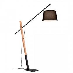 Crane φωτιστικό δαπέδου wood & μαύρο μέταλλο