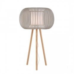 Iris πορτατίφ με καπέλο λευκό/μπέζ & ξύλινη βάση